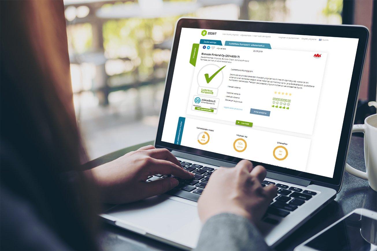 Näytä Bisnoden luottoluokitus Tilaajavastuun palveluissa